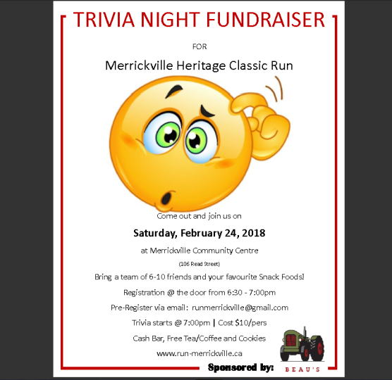 Run Merrickville Trivia Night!