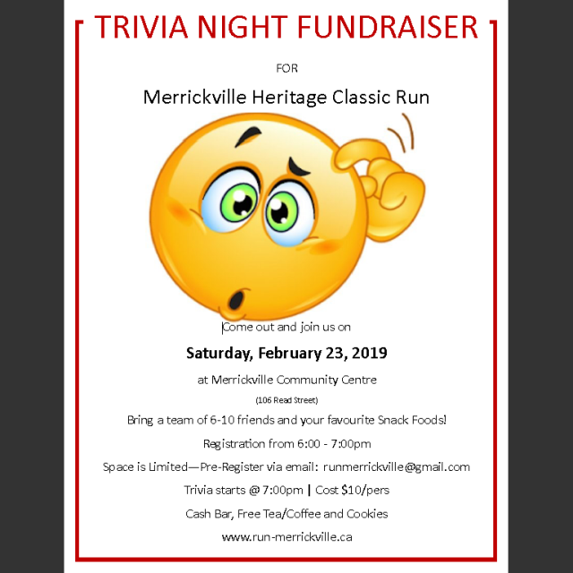 2019 Run Merrickville Trivia Night